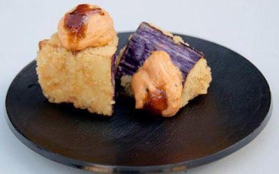 Albergínies, salsa tàrtara i arengada
